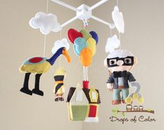 Baby Mobile - Baby Crib Mobile - UP Mobile - Nursery Disney Movie UP Mobile - House Balloons, Carl, Russell, Dog Dug. on Etsy, $95.00