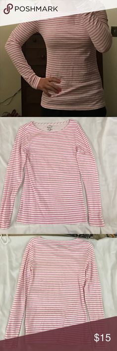 "J.CREW ""Artist T"" Long Sleeve Shirt - Small - New J.CREW ""Artist T"" Long Sleeve Shirt - Small - White/ Pink Stripes - New - Never Worn - No Tags J. Crew Tops Tees - Long Sleeve"