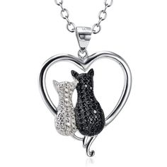 Two-tone 925 Sterling Silver Black and White Crystal CZ Love Charm Couple Pendant Rolo Chain Necklace, 18' -- To view further, visit now : Fashion Jewelry