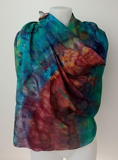 Crazy Rainbow - large silk scarf in darkers shades of rainbow colours