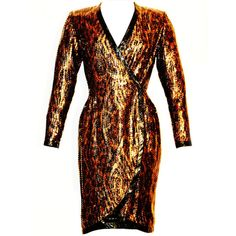 Preowned Balmain Ivoire 1980s Long Sleeve Animal Print W Sequence... ($1,500) ❤ liked on Polyvore featuring dresses, multiple, short dresses, long sleeve dress, long sleeve short cocktail dresses, vintage wrap dress and sexy long sleeve dresses