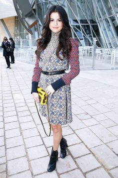 Selena Gomez in the perfect printed Louis Vuitton dress