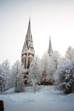 Joensuun ev.lut kirkko Winter Scenery, Winter Beauty, Place Of Worship, Cathedrals, Winter Snow, Winter Wonderland, Landscapes, Wanderlust, Universe