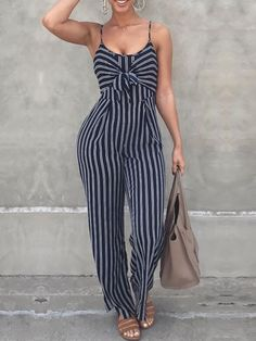 Women Striped Jumpsuit Elegant Wide Leg Long Pants Strappy Overall Sleeveless Jumper Suit Outfit Celebrity Baggy Romper Female Rompers Women, Jumpsuits For Women, Fashion Jumpsuits, Fancy Jumpsuits, Trend Fashion, Fashion Outfits, Latest Fashion, Fashion Women, Fashion Online