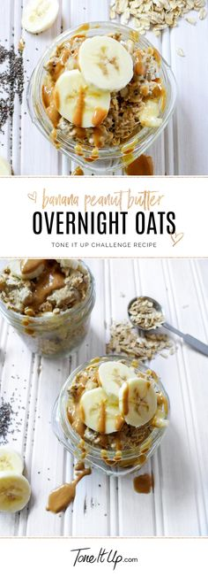Simple TIU Challenge Recipe - Banana Peanut Butter Overnight Oats on You can find Vegan overnight oats recipe. Low Calorie Overnight Oats, Peanut Butter Overnight Oats, Overnight Oats In A Jar, Peanut Butter Banana, Almond Butter, Quaker Overnight Oats Recipe, Oats Recipes, Healthy Recipes, Gourmet Recipes