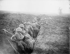 Battle of the Menin Road Ridge. Men of the 13th Battalion, Durham Light Infantry waiting in trenches prior to their attack towards Veldhoek, 20 September 1917.