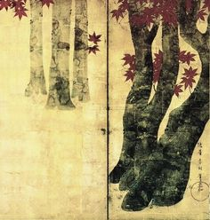 Japanese screen. Maple trees. Tawaraya Sotatsu.