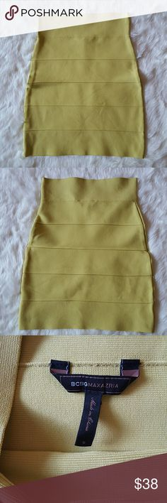 Bandage Skirt by BCBG Excellent like new condition. Lime yellow color. Size small. Lenght 18.5 inches. W 24.5 inches. BCBGMaxAzria Skirts Mini