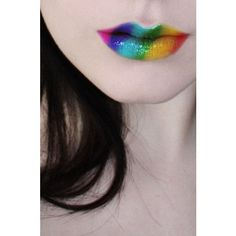 Rainbow lips ❤ liked on Polyvore featuring beauty products, makeup and lip makeup