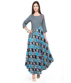 Fabolous Grey and Sky Blue Color Rayon Kurti With Hand Work Simple Dresses, Casual Dresses, Fashion Dresses, Kurta Designs Women, Blouse Designs, Dress Shirts For Women, Clothes For Women, Fancy Kurti, Edwardian Dress