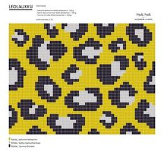 Leopard pattern, work in tr/dc. Made with Molla yarns for Suomen Lanka (looks good in black'n'white too). ^^ Check it out… Tapestry Crochet Patterns, Crochet Stitches Patterns, Crochet Chart, Bead Crochet, Crochet Motif, Stitch Patterns, Knitting Patterns, Motif Leopard, Leopard Pattern