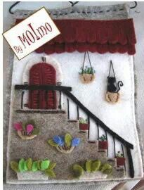 House scene out of felt. Felt Christmas, Christmas Crafts, Felt Doll House, Japanese Quilts, Wool Quilts, Donia, Felt Quiet Books, Felt Embroidery, House Quilts