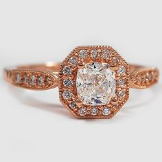 14K Rose Gold Victorian Halo Diamond Ring // Set with a 0.70 Carat, Cushion, Very Good Cut, F Color, VS1 Clarity Diamond #BrilliantEarth