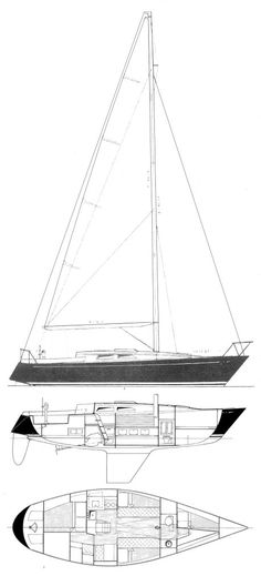 Prestige 36 drawing on sailboatdata.com