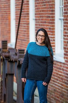 This pullover is knit in simple stockinette up to the yoke, where Two-color brioche rib is used to create a striking pattern up Stockinette, Stitch Markers, Knit Crochet, Turtle Neck, Pure Products, Pullover, Pattern, Sweaters, Sweater