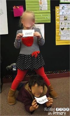 Grab a FREE set of positional words flashcards and students can act them out.