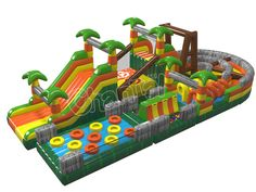 Customized inflatable jungle challenge obstacle course is the most challenging and amusing game for adults and kids to race and explore. Inflatable Obstacle Course, Kids Obstacle Course, Inflatable Water Park, Inflatable Island, Backyard For Kids, Diy For Kids, Blow Up Water Slide, Water Bounce House, Structures Gonflables