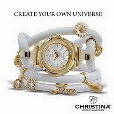 Gold watch diamonds jewelry Danish design charms leather Christina