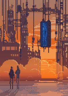 Gorgeous Sci-Fi/Fantasy Pixel Art Makes Other Gifs Look Positively Mundane Pixel Art Gif, How To Pixel Art, Pixel Art Games, 2d Game Art, 2d Art, Video Game Art, 8 Bits, Animation Pixel, 8 Bit Art