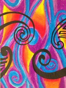Maori Art- Swirling Pastel Koru   Nat Gets Nifty Polynesian Art, Maori Designs, Nz Art, Maori Art, Crafts With Pictures, Sand Crafts, Watercolor Paintings Abstract, Art N Craft, Hindu Art