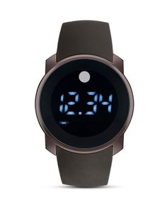 Movado BOLD Brown Touch-Screen Dial with LED Digital Display Watch, 45mm Bloomingdale's