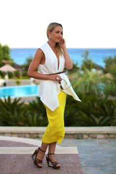 skirt - H / vest, earrings - Forever 21 / shoes - Deichmann / sunglasses - New Yorker / ring - LookbookStore Forever 21, Holidays, Yellow, Summer, Collection, Dresses, Fashion, Vestidos, Moda