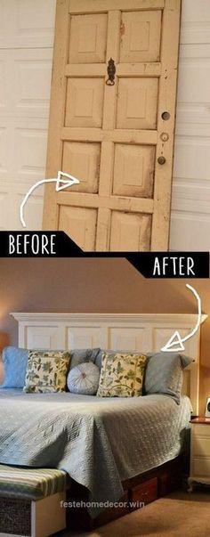 Incredible DIY Furniture Hacks   Door Headboard   Cool Ideas for Creative Do It Yourself Furniture   Cheap Home Decor Ideas for Bedroom, Bathroom, Living Room, Kitchen – diyjoy.com/… The post DI ..