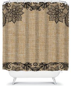 Burlap Shower Curtain With Lace Accents Monogram NOT SHOWN - Country shower curtains for the bathroom for bathroom decor ideas