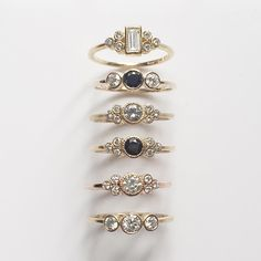 The prettiest alternative engagement rings in yellow and rose gold mixed with white and black diamonds #14k #18k #gold #diamond #rosegold #yellowgold #engagementring #valeengagement #valewedding #valejewelry