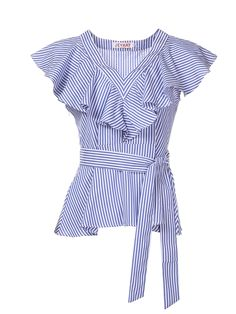 Buy Women's Blouse V Neck Patchwork Sash Bow Decor Ruffled Sweet Top & Blouses - at Jolly Chic Classy Work Outfits, Cool Outfits, Fashion Outfits, Saree Blouse Designs, Blouse Styles, Western Style Dresses, Crop Top Dress, Stripes Fashion, Young Fashion