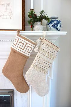 Elements by Erin Gates Wood Beads Stocking Rose Uniacke, Elements Of Style, Design Elements, Erin Gates, Home Instead, Burlap Stockings, Woven Chair, Powder Room Design