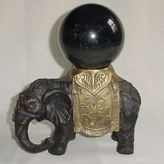 AWESOME BRONZE & BRASS ELEPHANT STATUE WITH HUGE MARBLE OR OBSIDIAN BALL