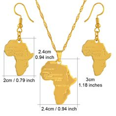 Anniyo Africa Map Jewelry set Pendant Necklaces Earrings Gold Color Map of African Ethiopian Nigeria Sudan Congo sets The product is gold plated or silver plated,no real pure gold or silver Packing: bag NO GIFT BOX NOTICE: Product size or color Gold Plated Earrings, Gold Earrings, Gold Necklace, Pendant Necklace, Africa Map, Cheap Necklaces, Beautiful Necklaces, Earring Set, Jewelry Sets