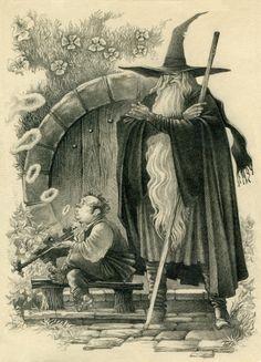 Gandalf The Grey (later White) and Bilbo Baggins🙃 Jrr Tolkien, Hobbit Art, The Hobbit, Gollum Hobbit, Gandalf, Legolas, Fantasy Wizard, Fantasy Art, Middle Earth