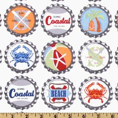 Clever bottle caps, with a beach theme.