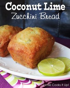 Ingredients: BREAD: 3 eggs,  3/4 C oil,  1 1/2 C sugar,  2 t lime zest,  1 t lime juice,  1 t coconut extract,  2 C shredded zucchini, skin on or off whatever you prefer,  2 1/2 C flour,  2 t baking powder,  3/4 t salt,  1/4 t soda,  3/4 C coconut, sweetened and flaked.  GLAZE: 1/2 C sugar,  2 T lime juice,  1/2 t coconut extract.