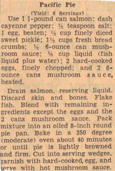 Vintage Recipe Clipping for Pacific Pie...this reminds me of a dish my mom used to make...especially the inclusion of the hard boiled eggs!!!