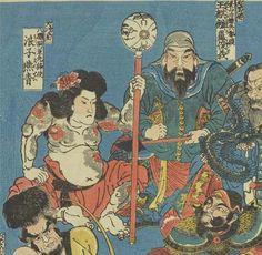 盧俊義と燕青が仲良く横並び。燕青は花飾りを頭に付けています。右下でにらんでいるのは索超、左下のパイナップルヘアーは劉唐です。太田記念美術館