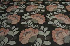 Blush pink pastel green Floral Cotton by the yard cotton
