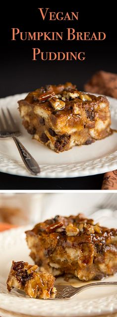 Vegan Pumpkin Bread Pudding This vegan bread pudding full of the aromatic flavors of cinnamon, ginger, and cloves, combined with the rich, amber taste of maple syrup. Brownie Desserts, Oreo Dessert, Mini Desserts, Pumpkin Dessert, Vegan Treats, Vegan Foods, Vegan Recipes, Vegan Bread Pudding, Pudding Cake