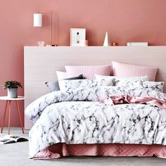 Image result for rose gold and marble bedroom
