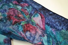 Scarf n°23 made of pongee, hand painted. 100% made in Italy. Unique piece. By il setario.