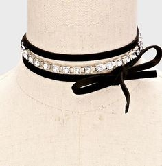 Crystal and Black Wrap Choker. Tie wrap around. We are just crazy for chokers!  JaeBee.com