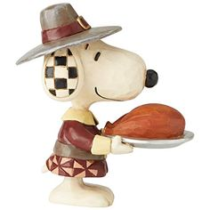 Enesco Peanuts by Jim Shore Thanksgiving Snoopy Pilgrim Miniature Figurine, 3.5 Inch, Multicolor