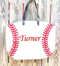 Baseball Canvas Tote Bag  Custom Embroidered Bag by LeapinLillypad