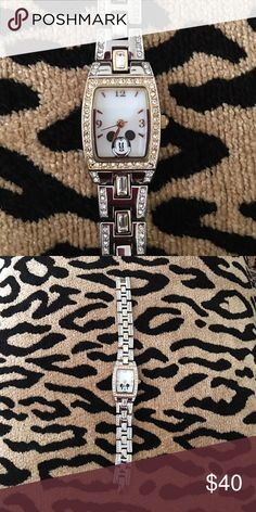 Cute Disney Mickey Mouse watch Excellent condition. All stones are in tact. Working battery. Comes with extra links. No box. Accessories Watches