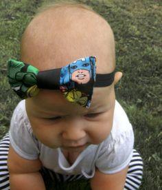 Marvel super hero Comic hair headband or Bow Tie Baby photo prop