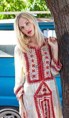 Tavin Boutique - Cream Light Cotton Floral Afghani Dress