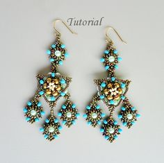PDF for beadwoven earrings beading tutorial - beadweaving beading pattern beaded seed bead jewelry - ARABIAN NIGHT