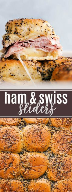 Buttery and delicious party food: ham and cheese sliders with sweet Hawaiian rolls deli (or leftover holiday) ham swiss cheese and a deliciously seasoned buttery topping. via chelseasmessyapro The post Ham and Cheese Sliders Appetizers For Party, Appetizer Recipes, Superbowl Party Food Ideas, Quick Party Food, Party Snacks, Ham Cheese Sliders, Ham And Cheese Sliders Hawaiian, Ham Cheese Rolls, Ham And Swiss Sliders